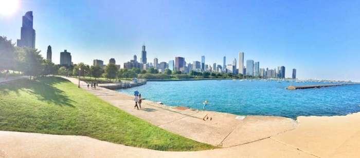 Panorama von Chicago am Lake Michigan