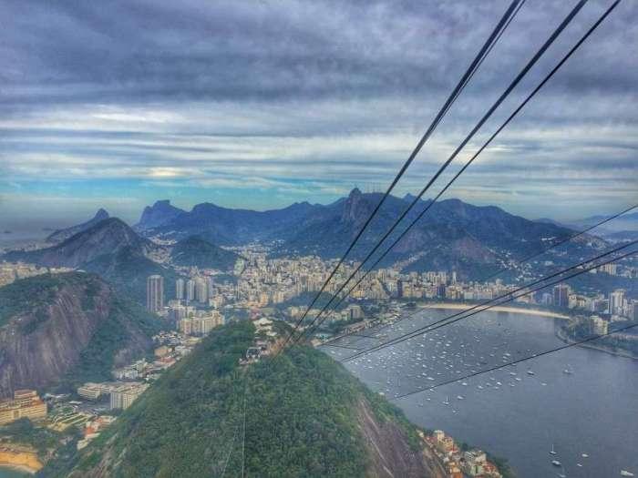 Blick vom Zuckerhut auf den Yachthafen von Rio