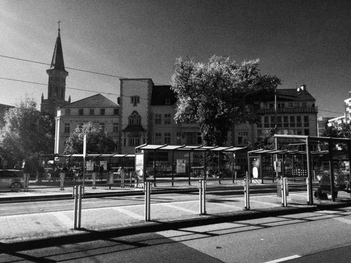Straßenbahn-Haltestelle auf dem August-Bebel-Platz in Wattenscheid