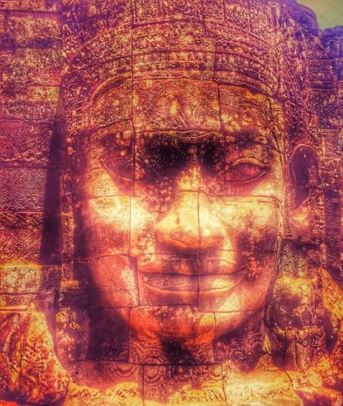 Kopf auf dem Angkor-Thom-Tempel