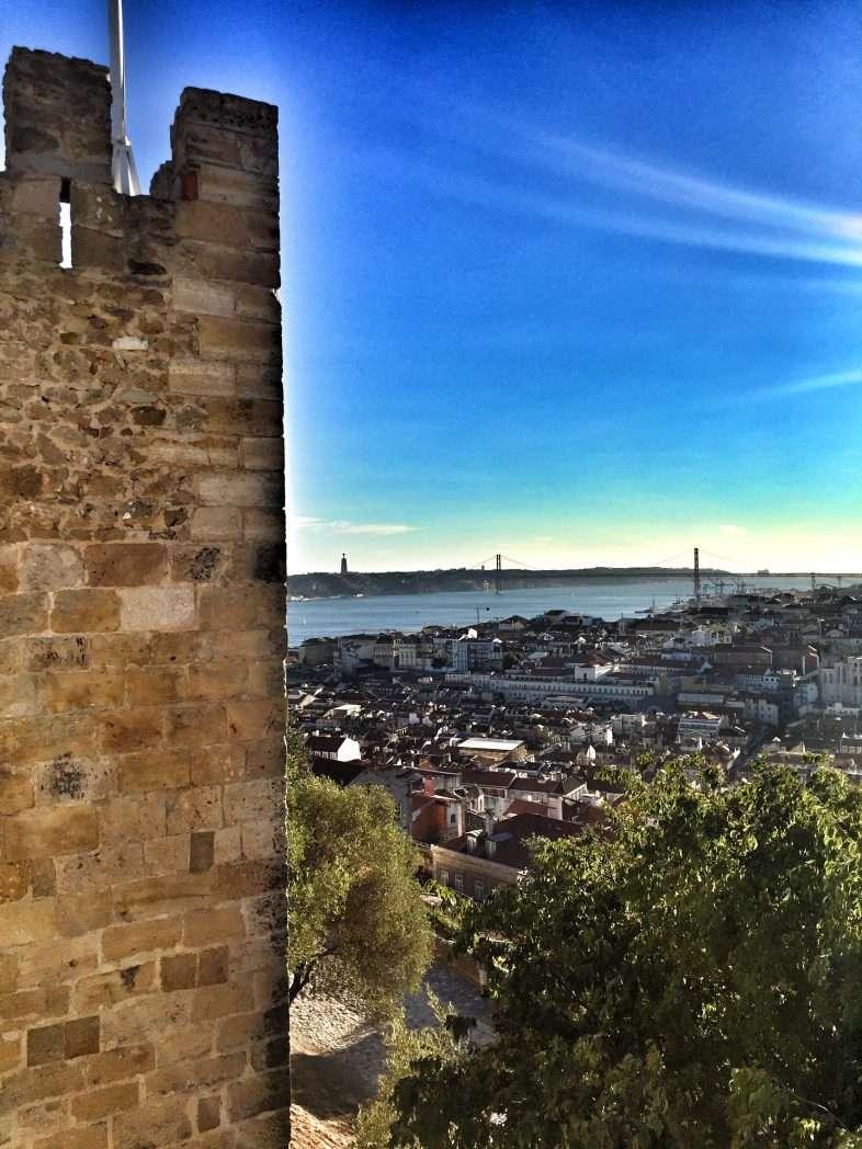 Blick von der Burg auf den Tejo und die Stadt