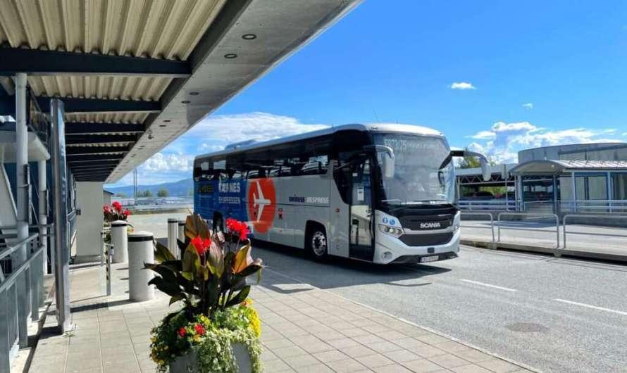 Vom Flughafen Trondheim mit Bus und Bahn in die Stadt