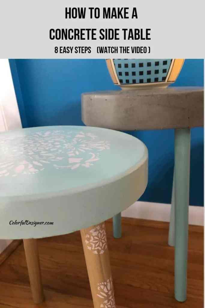 How to make a concrete side table or stool and add awesome looking accents to it.
