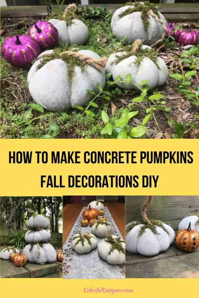 How to make concrete pumpkins fall decorations DIY with stockings, cement and water. Fun project for the whole family