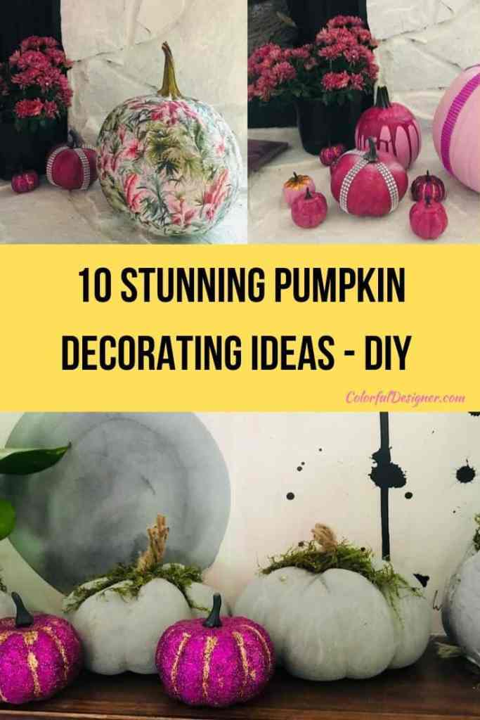 10 stunning Pumpkin decorating ideas - DIY. Decoupage or make your own concrete pumpkins or just paint and decorate them.