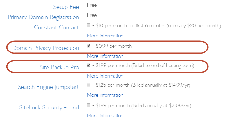 Select bluehost package information