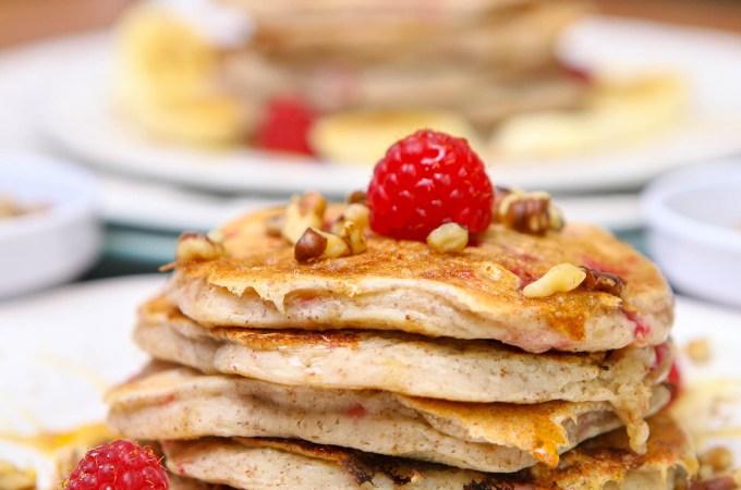 Vegan Flax Raspberry Pancakes