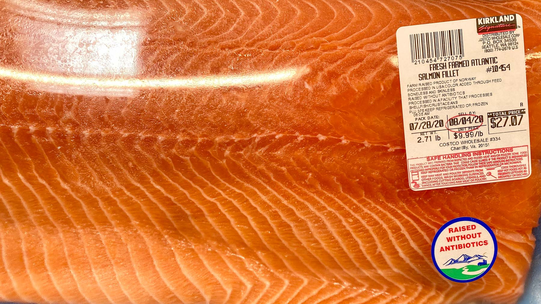 costco salmon from Norway raised without antibiotics