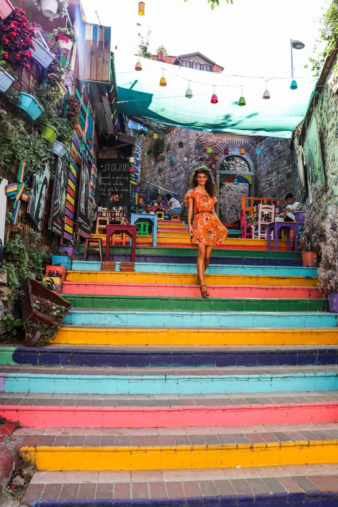 Balat Istanbul Colorful Rainbow Stairs