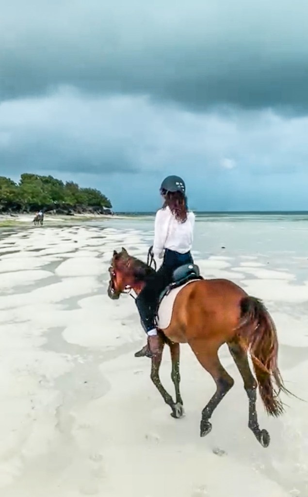 Horseback riding on the beach, zanzibar
