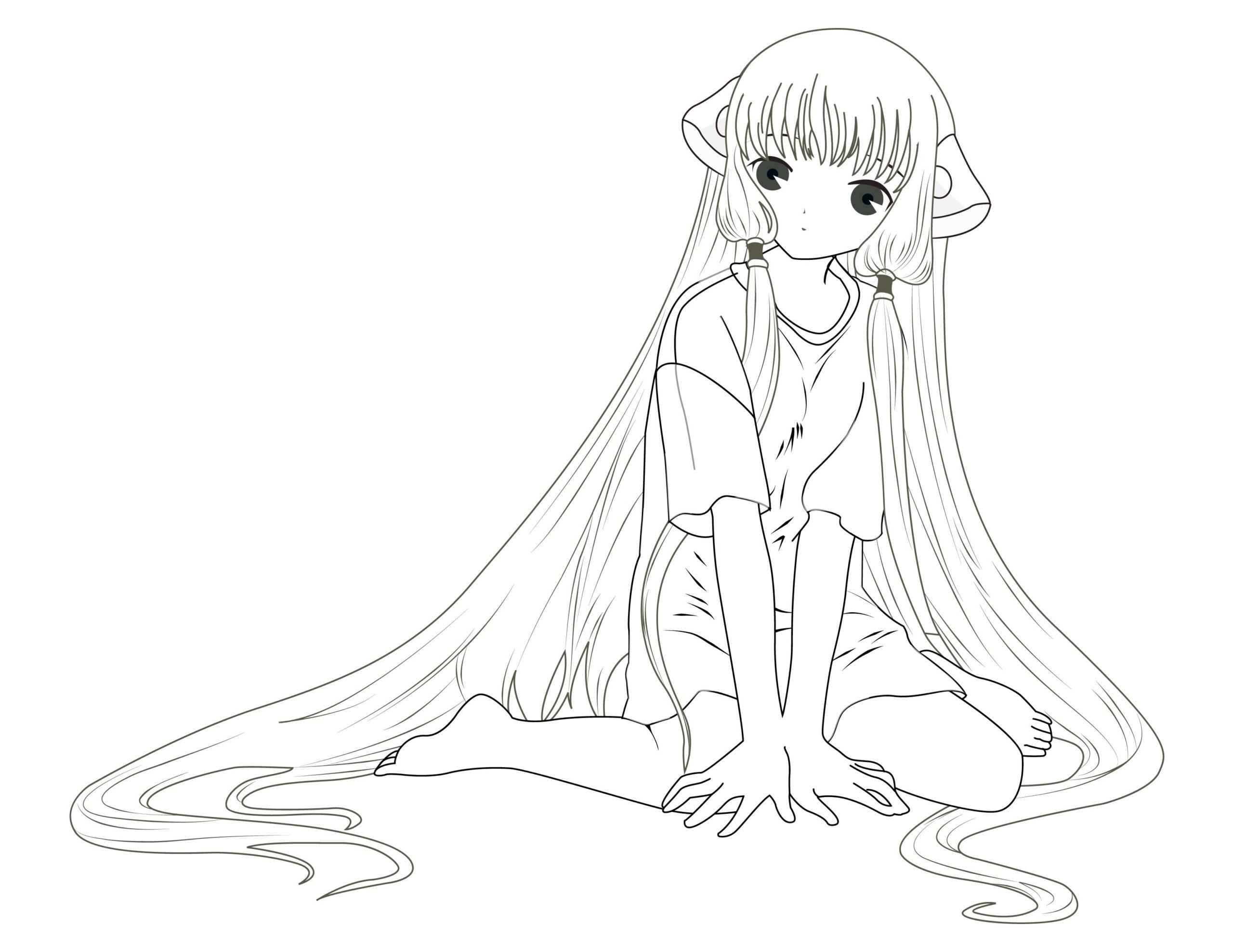 Coloriage à Imprimer De Fille Manga - Coloriage Imprimer