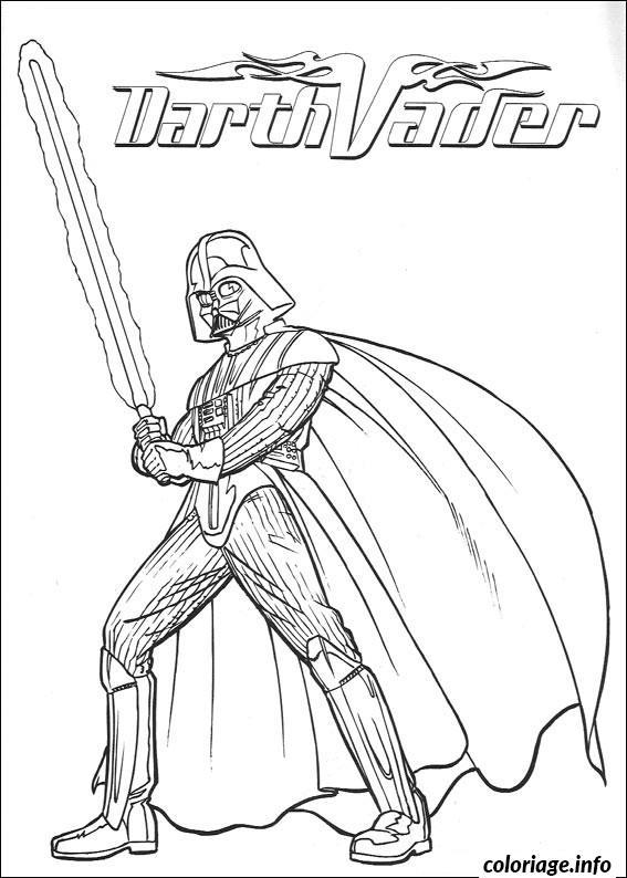 Coloriage Star Wars Dark Vador Sabre Laser Dessin