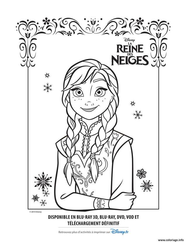 Coloriage Anna La Reine Des Neiges Disney Dessin La Reine Des