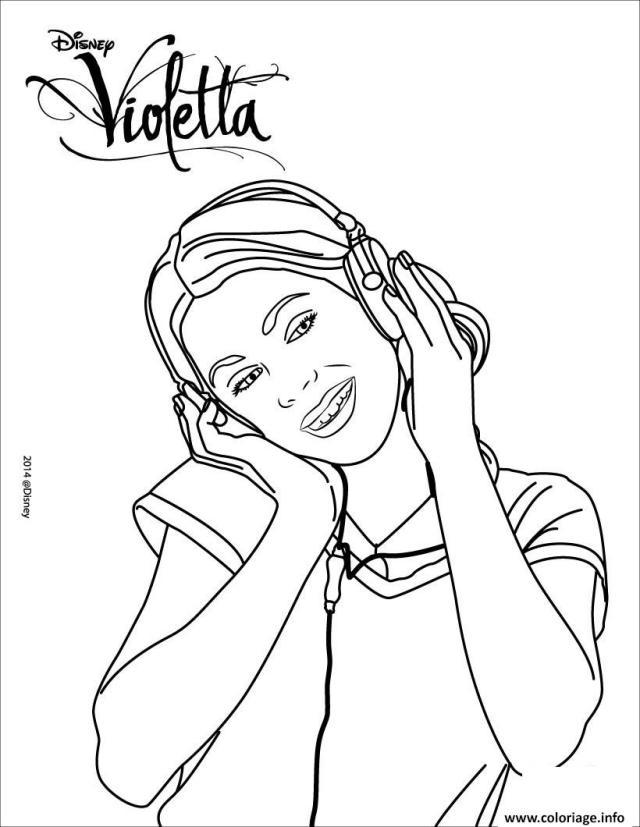 Coloriage Violetta Ecoute De La Musique Dessin Violetta à imprimer