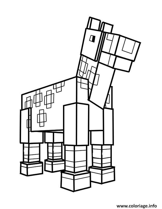 Coloriage Minecraft Cheval Dessin Minecraft A Imprimer