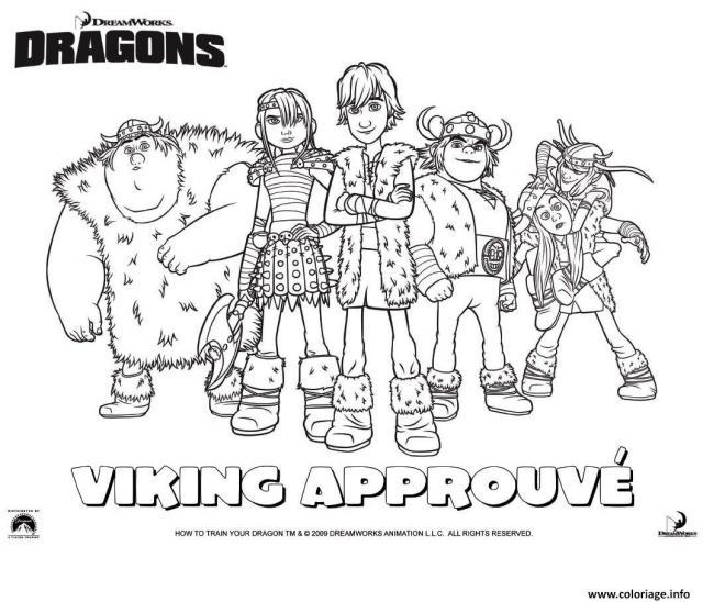 Coloriage Dragons Le Film Viking Groupe Dessin Dragon à imprimer