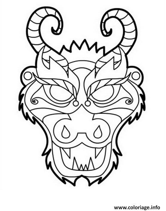 Coloriage Dragon Masque Tete Dessin Dragon A Imprimer