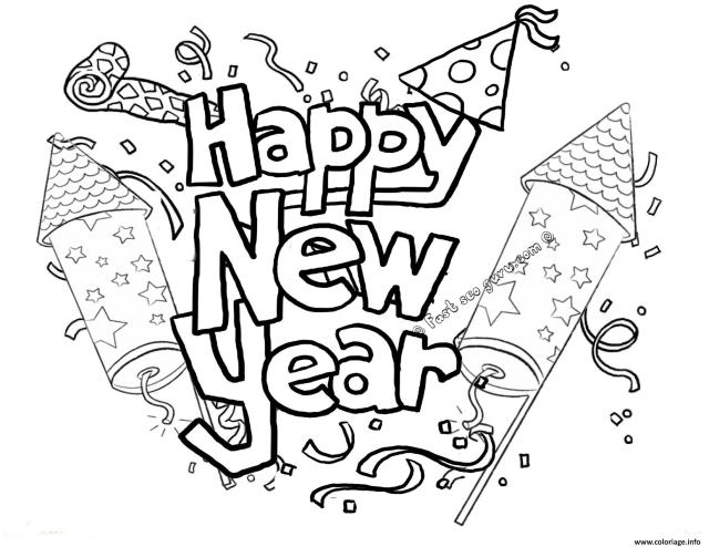 Free printable new years coloring pages