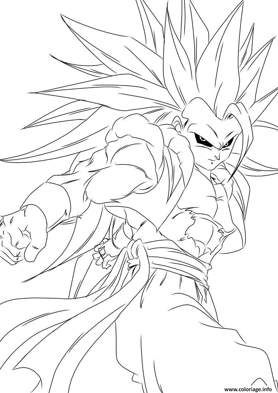Coloriage Dragon Ball Z Sangoku Super Sayen Jecolorie Com