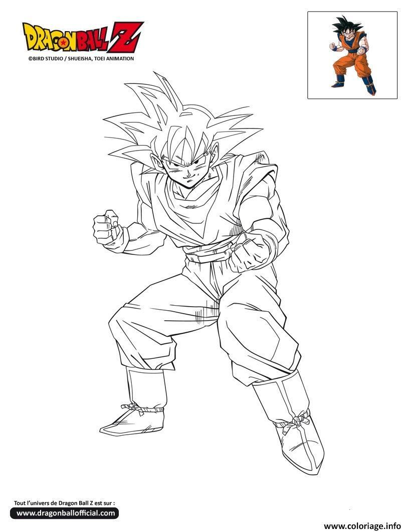 Coloriage Dbz Goku Pret Au Combat Dragon Ball Z Officiel Jecolorie Com
