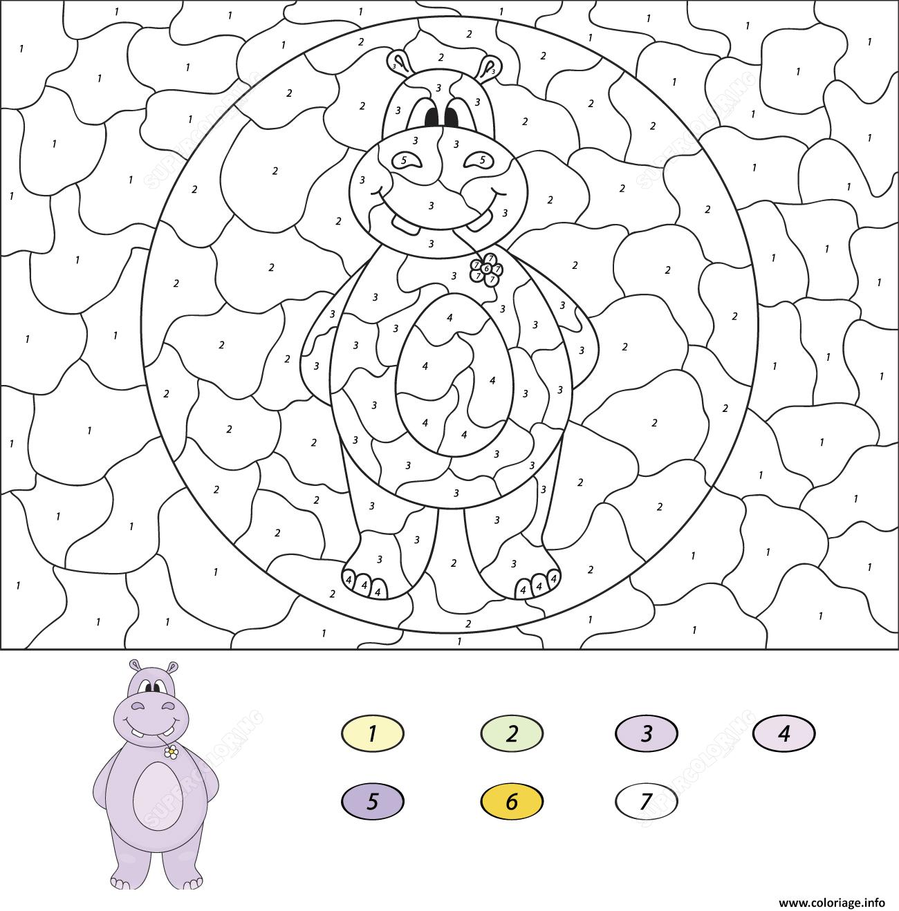 Coloriage Cartoon Hippo Magique