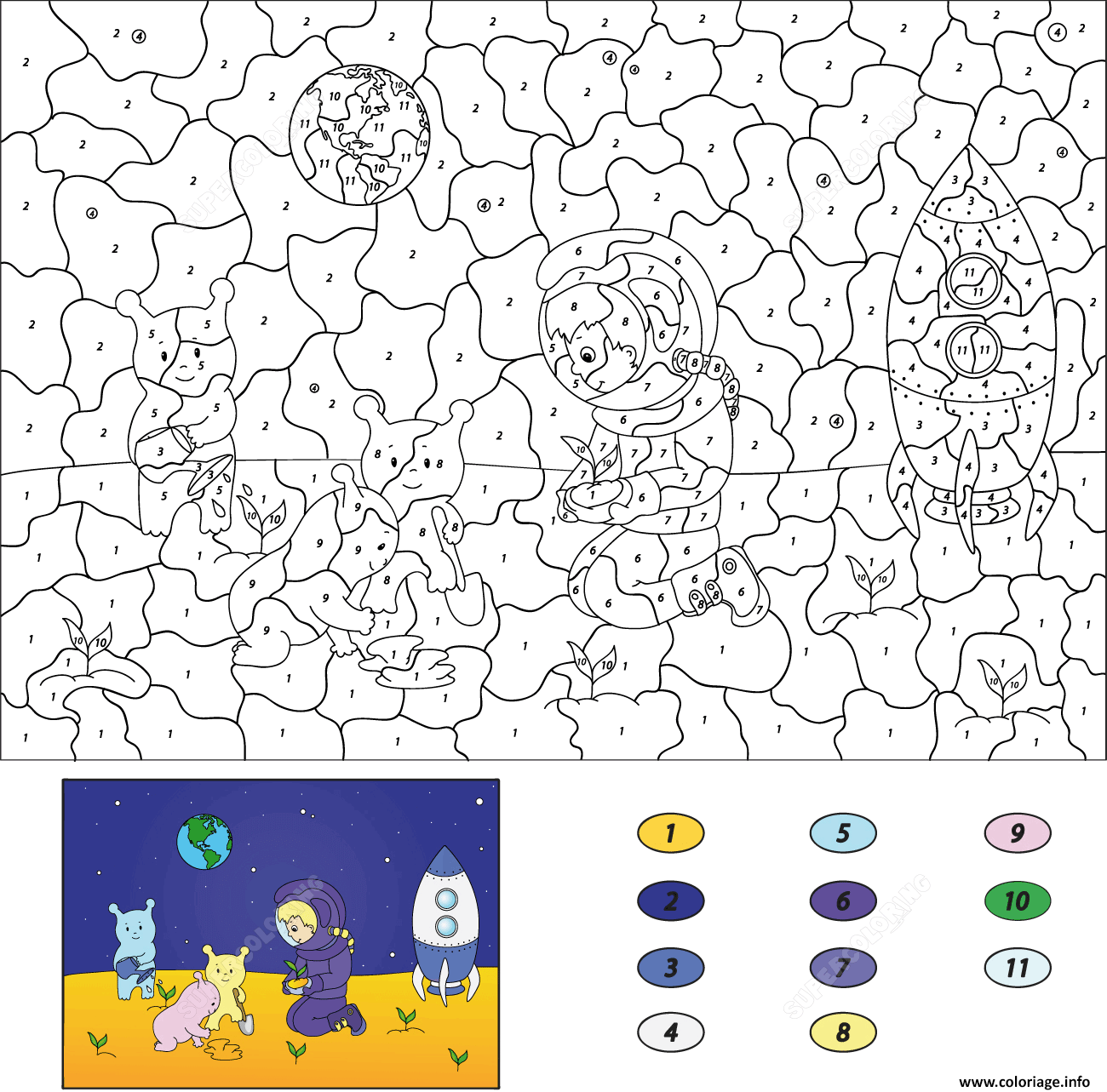 Coloriage Astronaut Boy And Aliens Plant Herbs On The Moon