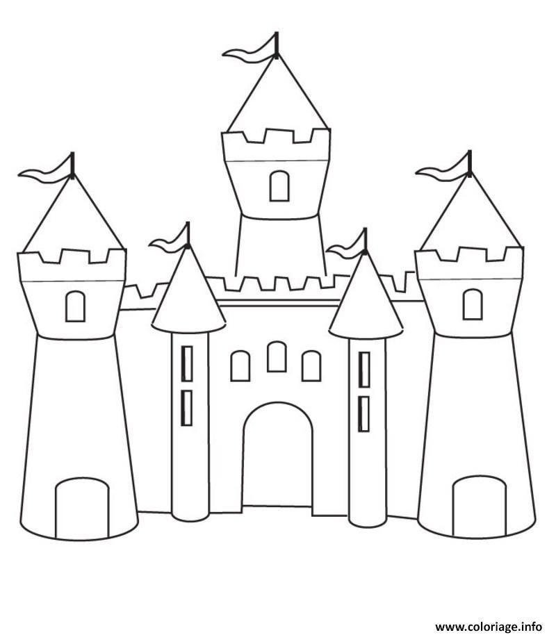 Coloriage Chateau Maternelle Simple Enfant Dessin Chateau A Imprimer
