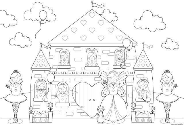 Coloriage Chateau Princesses Toute La Famille De Princesse Dessin