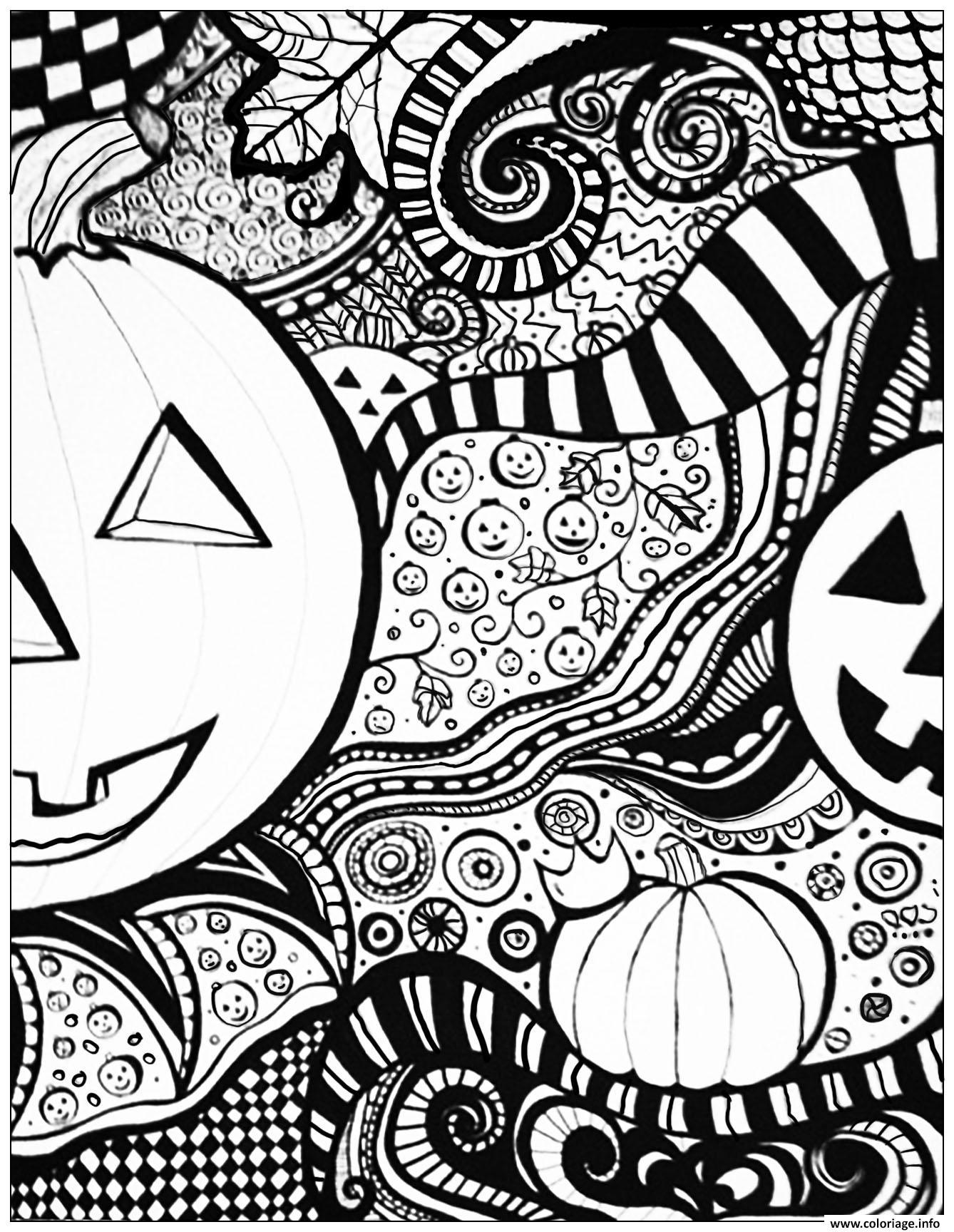 Coloriage Adulte Halloween Pattern Difficile Dessin