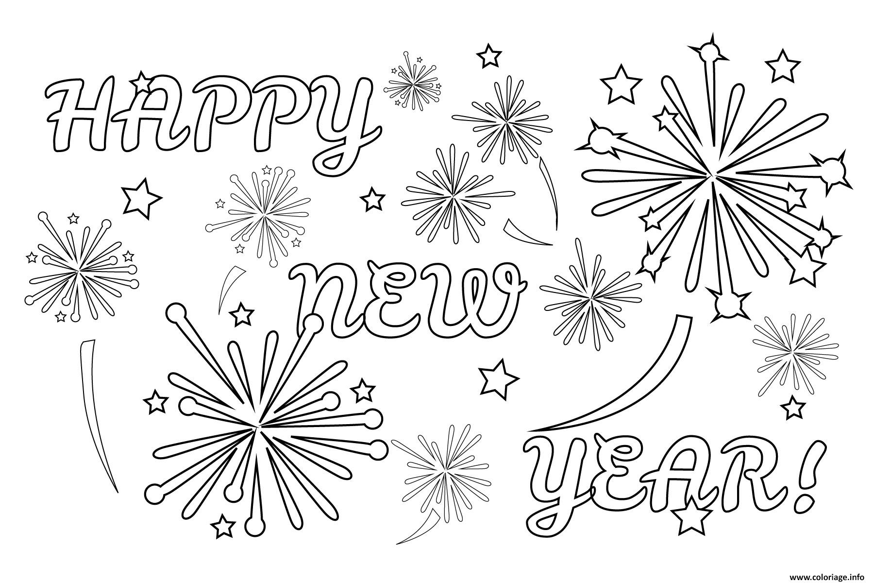 Coloriage Happy New Year Fireworks Dessin