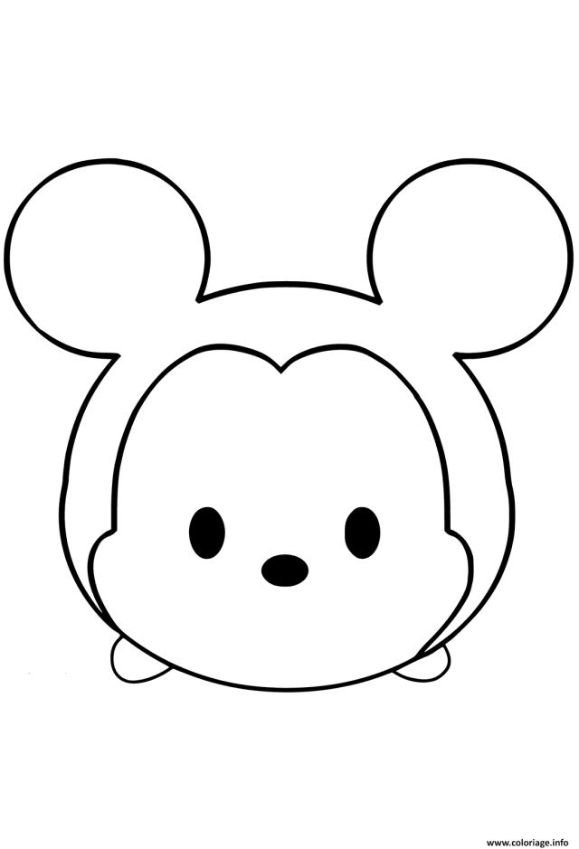 Coloriage Mickey Mouse Emoji Face Tsum Tsum Dessin Tsum Tsum à