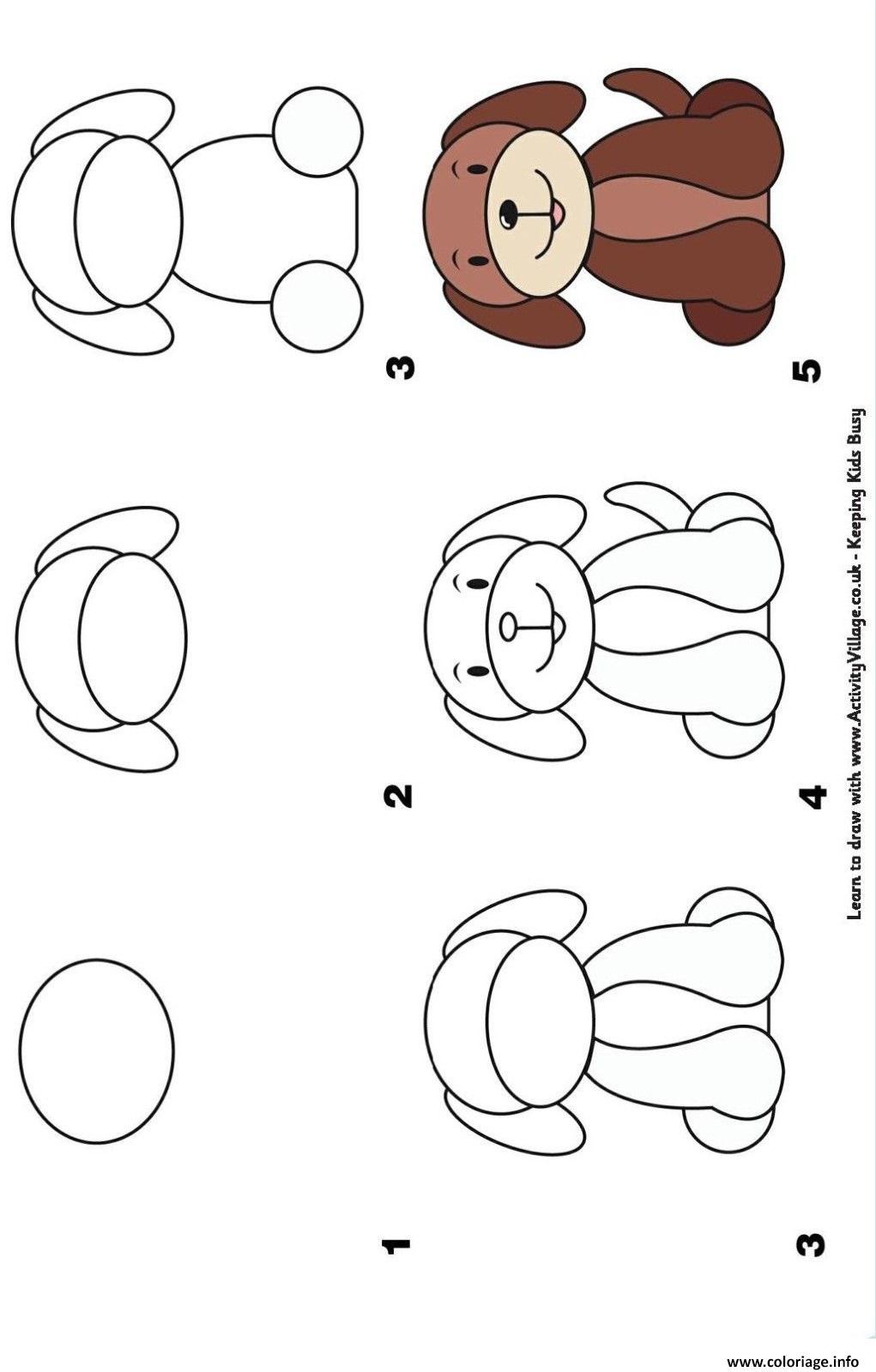 Coloriage Comment Dessiner Un Chien Etape Par Etape Dessin Dessin A Imprimer