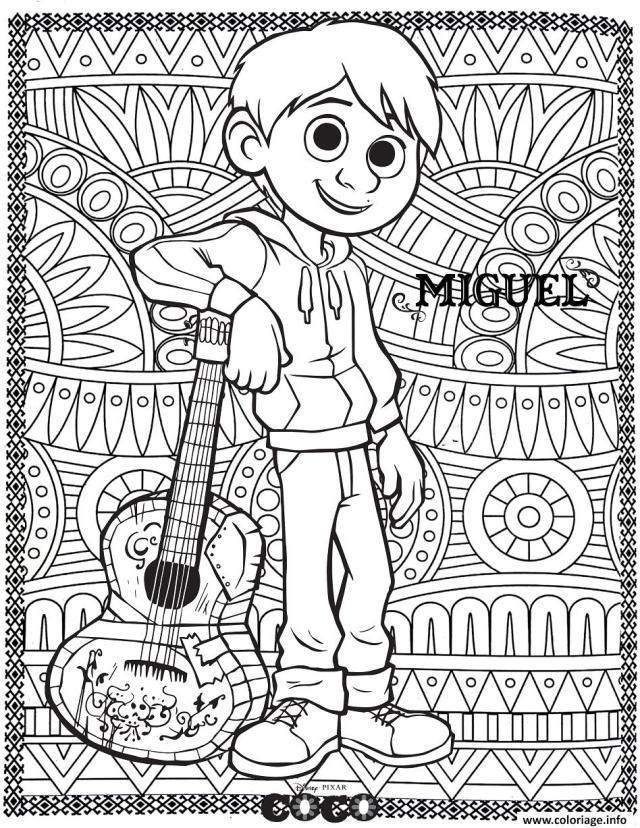 Coloriage Coco Miguel Avec Fond Mandala Adulte Dessin Coco Disney