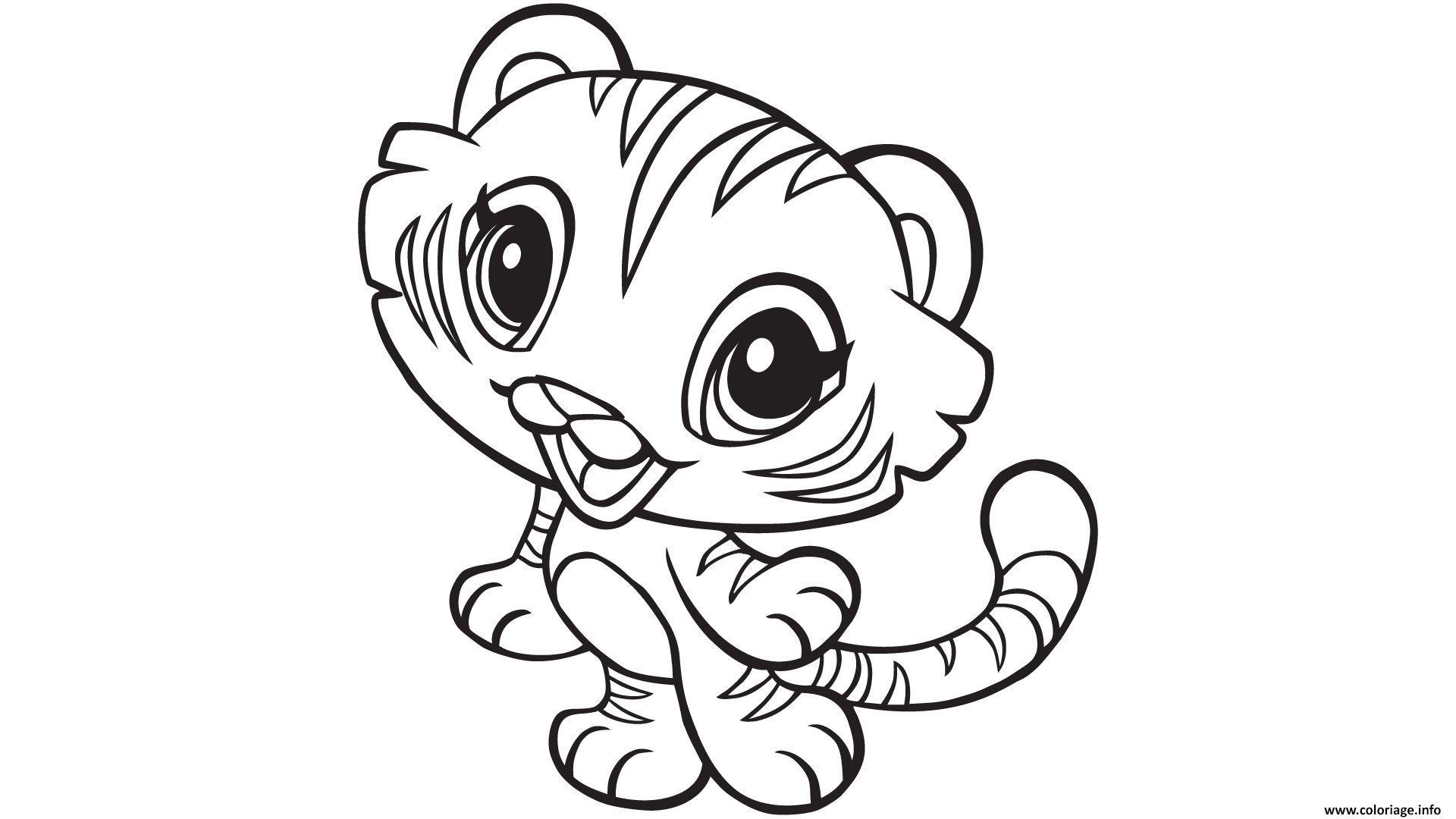 Coloriage Kawaii Animaux Tigre