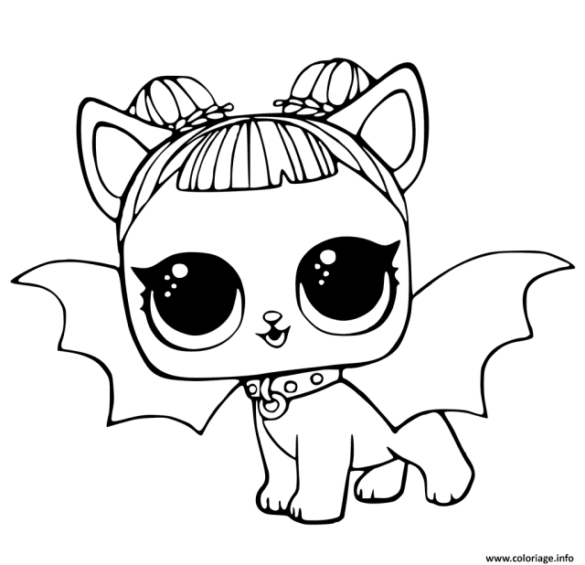 Coloriage LOL Pets Pages Cute Midnight Pup With Devil Wings Dessin