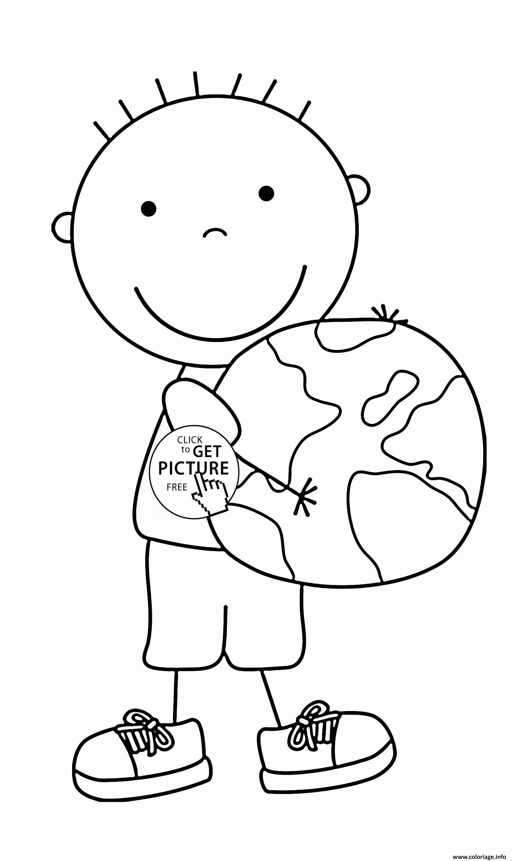 Coloriage Enfant Garcon Jour De La Terre