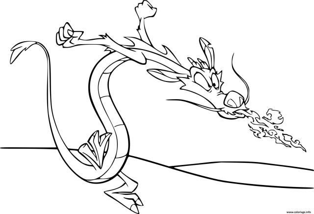 Coloriage Mushu Le Petit Dragon De Mulan Dessin Mulan à imprimer