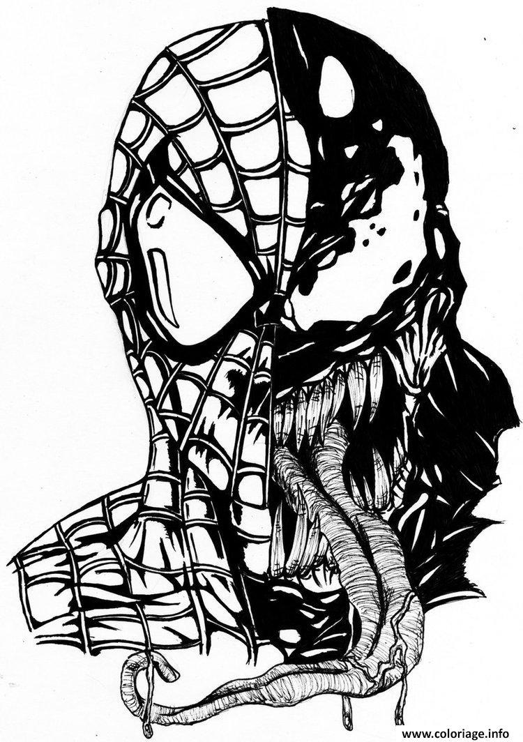 Coloriage Spiderman Venom Mask