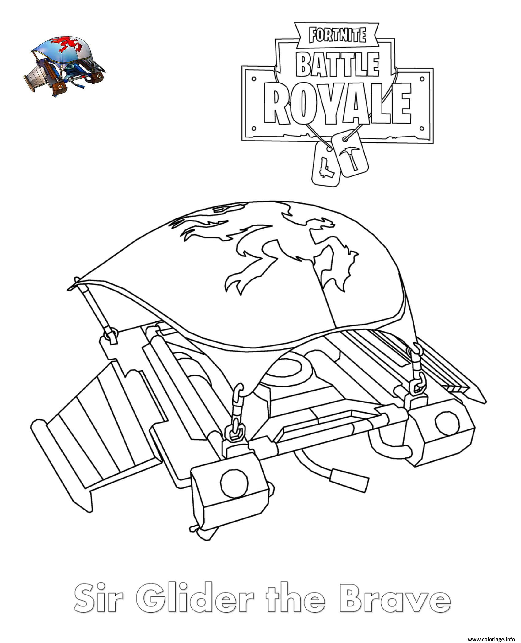 Coloriage Sir Glider The Brave Fortnite Dessin