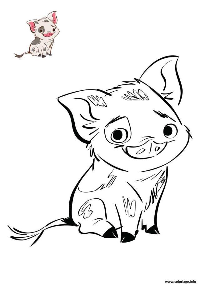 Coloriage Le Petit Cochon De Vaiana Disney Dessin Vaiana Moana à