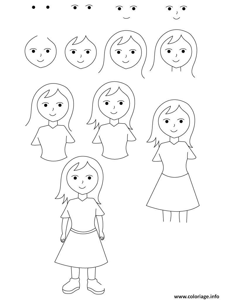 Coloriage Comment Dessiner Une Fille Dessin Comment Dessiner A Imprimer