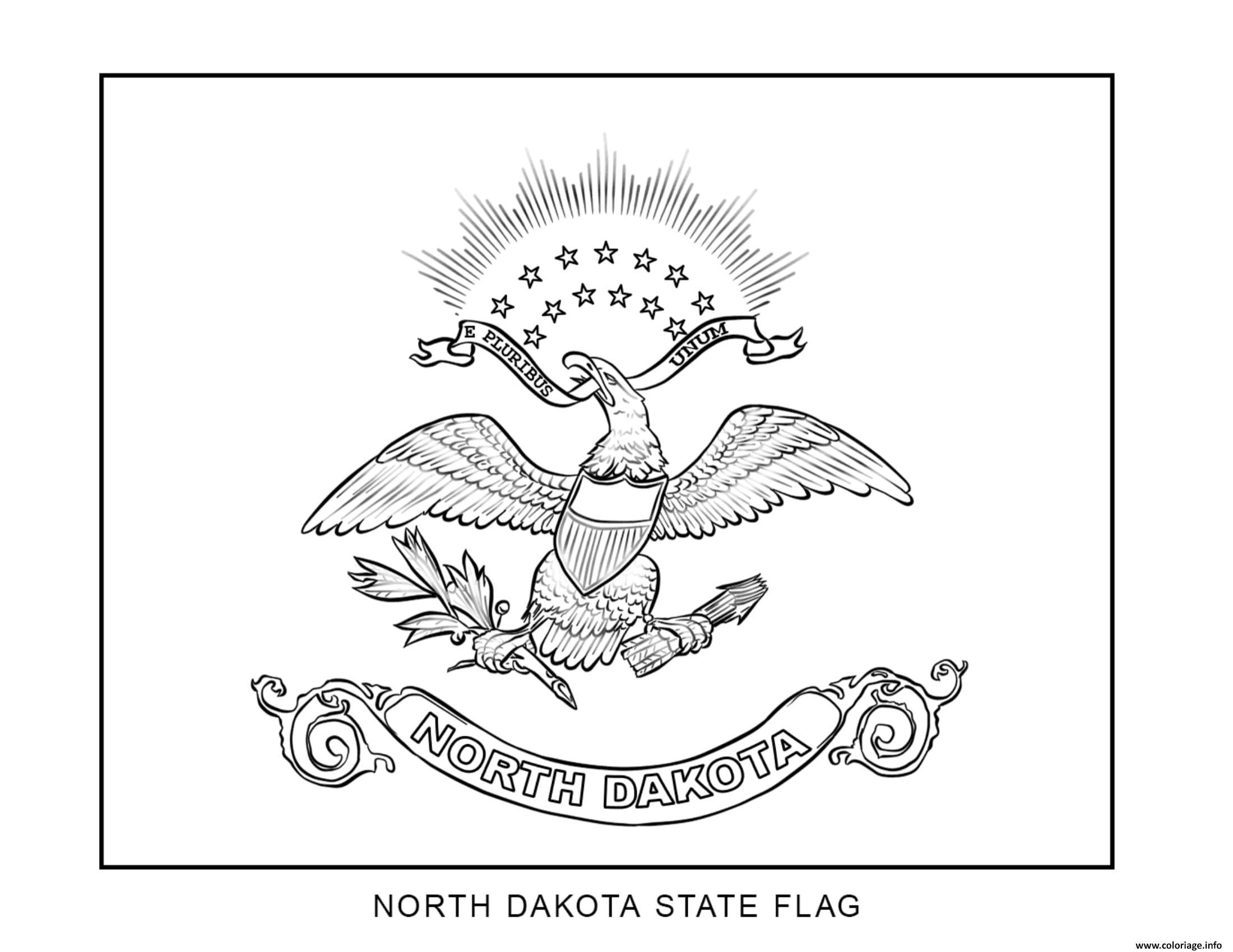 Coloriage North Dakota D Au Etats Unis Dessin
