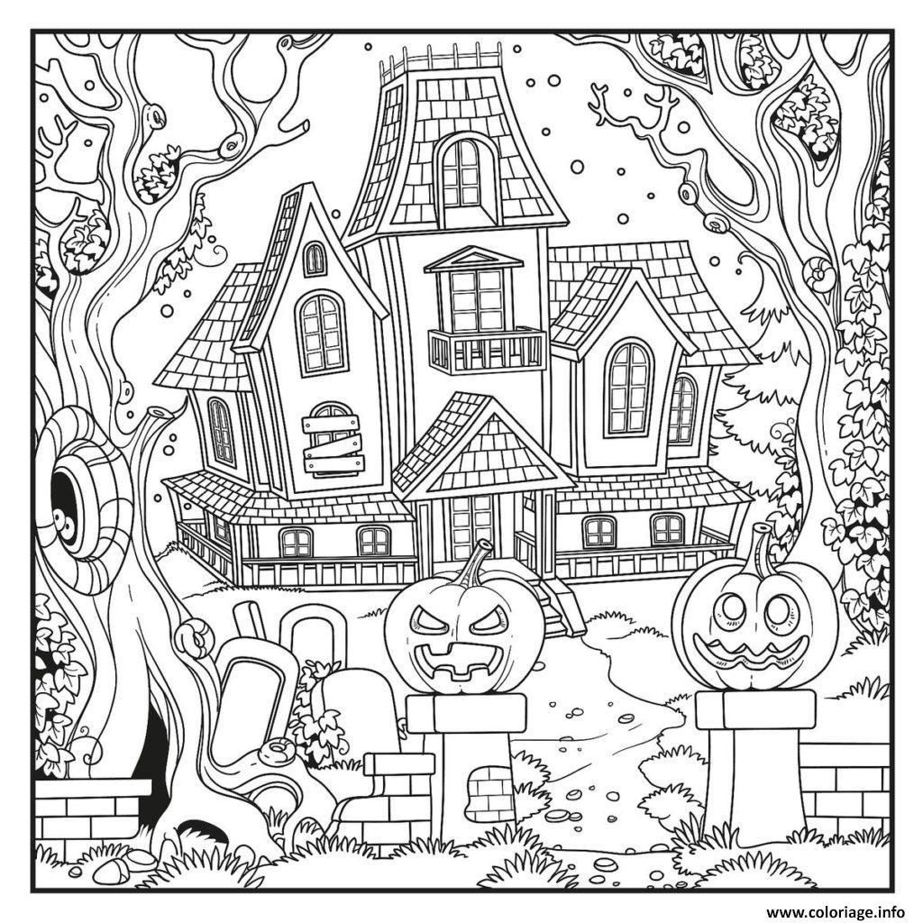 Coloriage Maison Hantee Avec Des Citrouilles Epeurantes Dessin