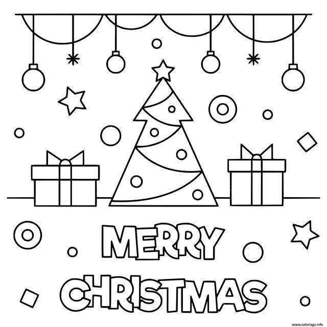 Coloriage Merry Christmas Sapin Avec Decorations Dessin Noel à
