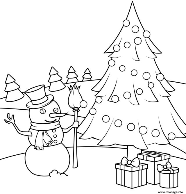 Coloriage Bonhomme De Neige Avec Un Sapin Et Des Cadeaux De Noel