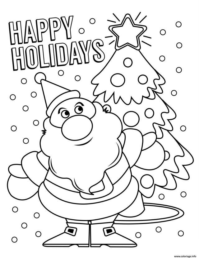 Coloriage Joyeux Temps Des Fetes Par El Pere Noel Dessin Noel à