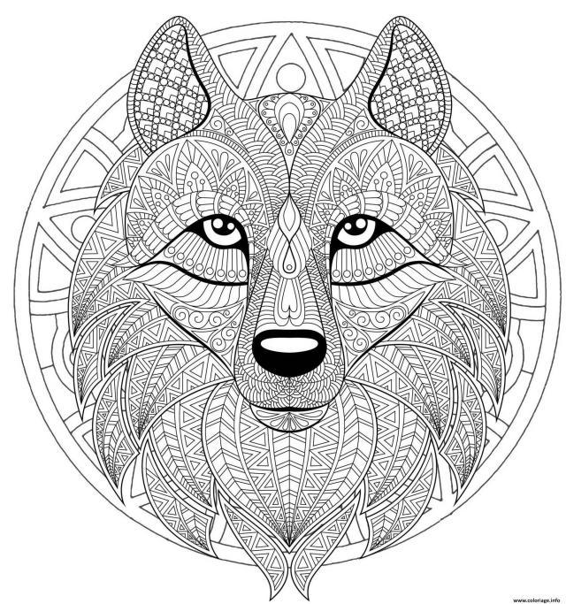 Coloriage Mandala Loup Difficile Complexe Beau Loup Dessin Mandala
