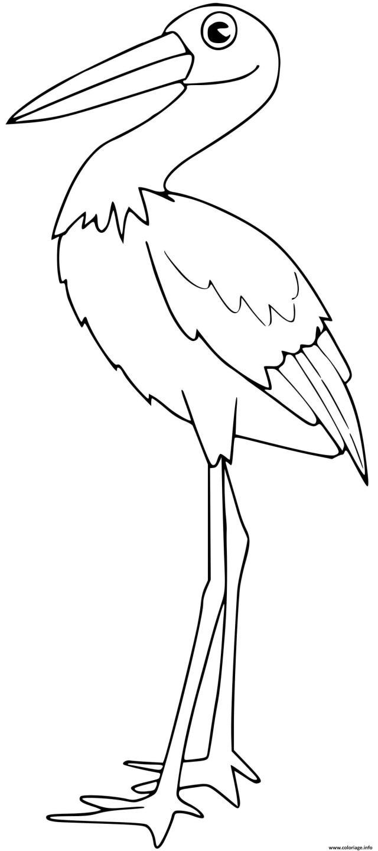 Coloriage Cigogne Dessin Oiseau à imprimer