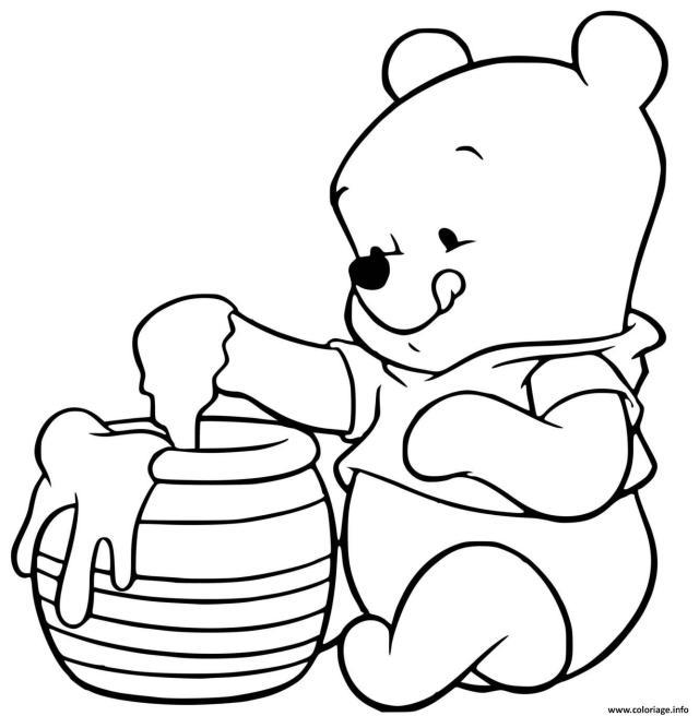 Coloriage Winnie Ourson Adore Le Miel Trouve Dans Une Ruche Dessin