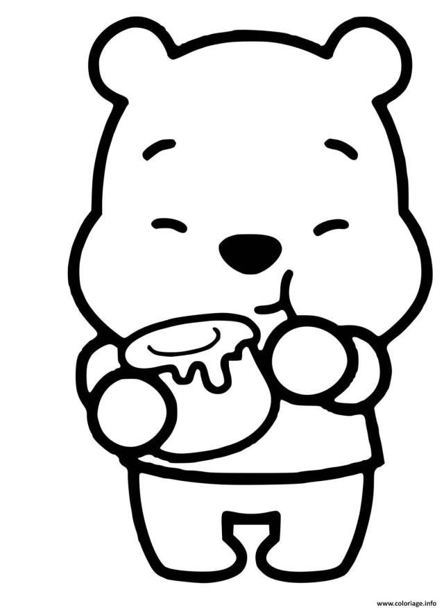 Coloriage Mini Bebe Winnie Mignon Kawaii Dessin Winnie Ourson à